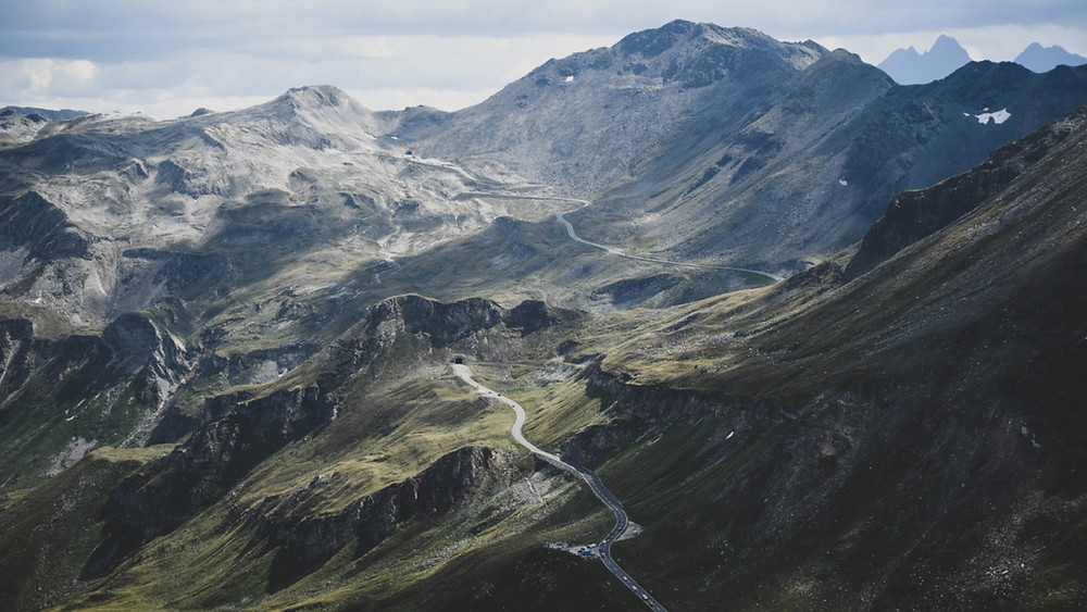 Winding roads crossing Austria's Grossglockner Alpine Pass
