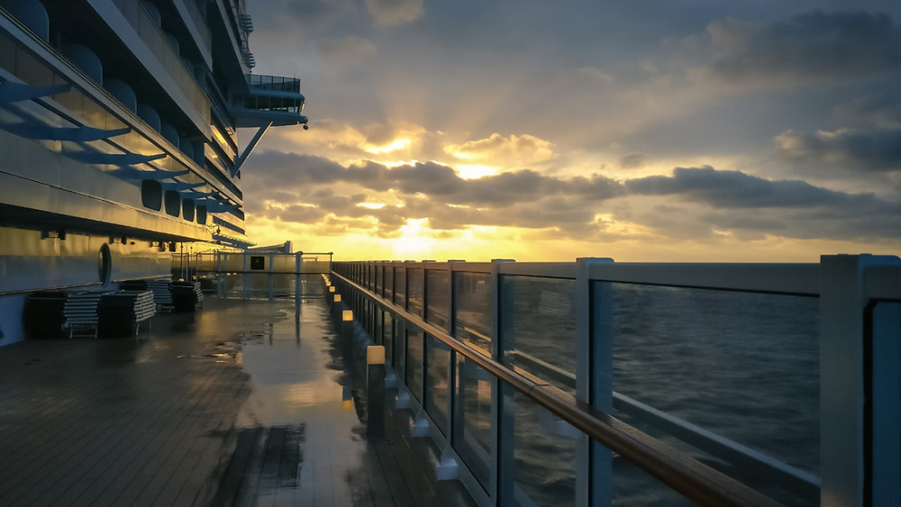 Sunrise on deck of the MSC Seaside in port in Miami, Florida