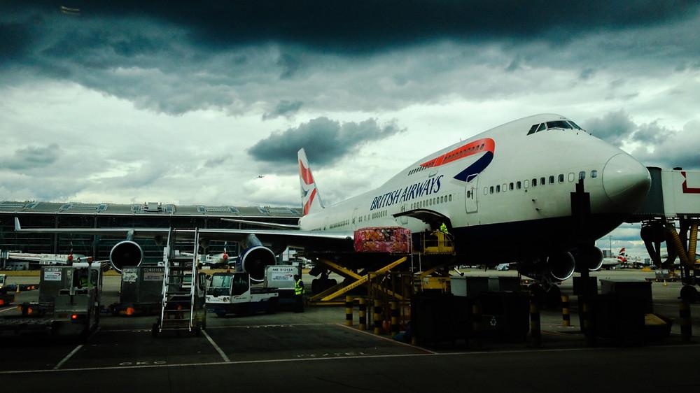 British Airways flight is loaded with cargo
