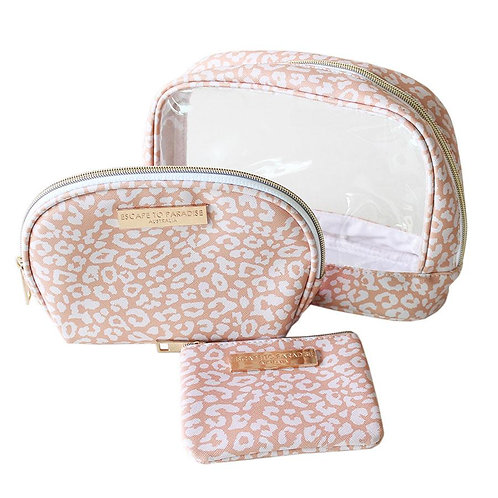 Australian style 3-piece cosmetic bag set