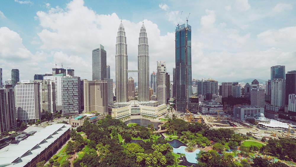 The twin Petronas Towers marking Kuala Lumpur's skyline