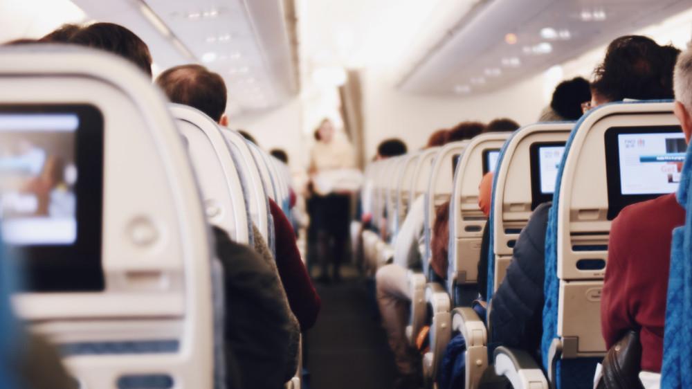 busy flight full of people