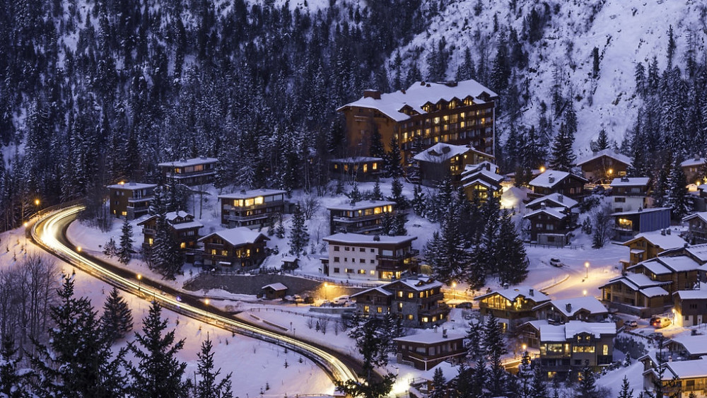 Courchevel ski resort area in France during evening hours