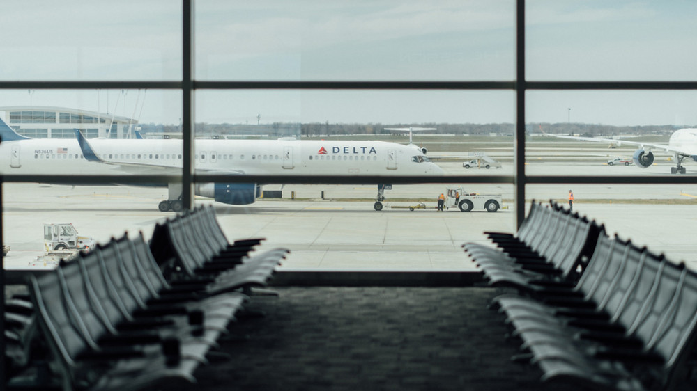 A Delta Airlines plane is taxi-ed at the airport in Detroit