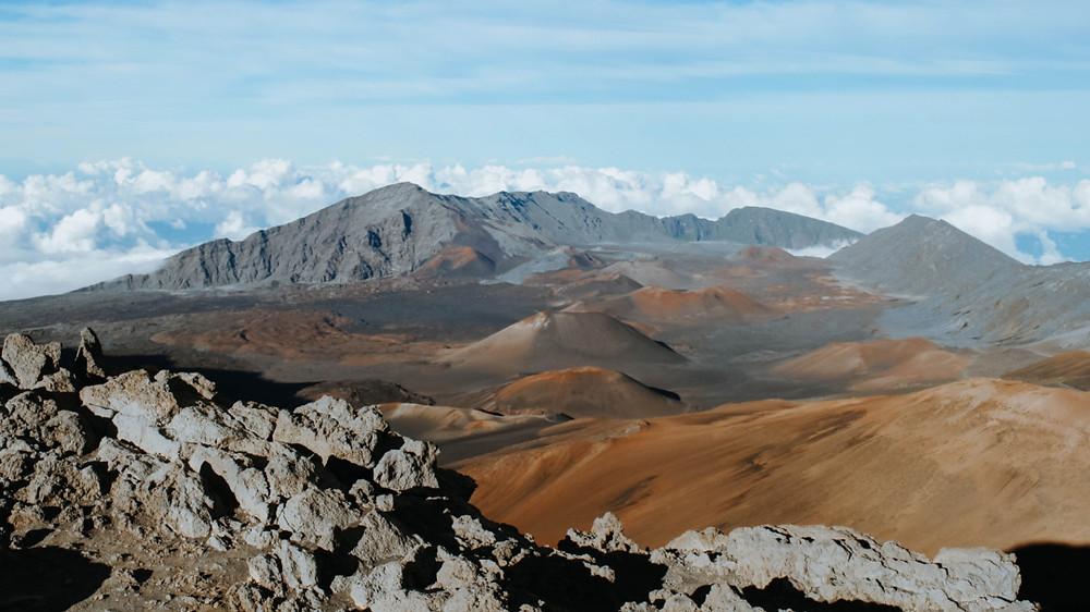 Colorful mountain range of Haleakala in Hawaii