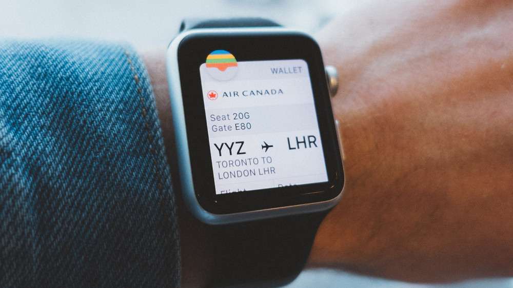 Boarding pass viewed from Apple watch