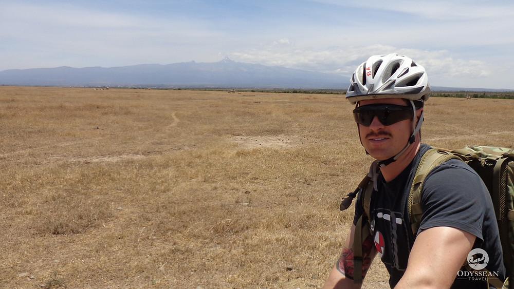 bicycle safari in Kenya, animals and mount kenya in the background