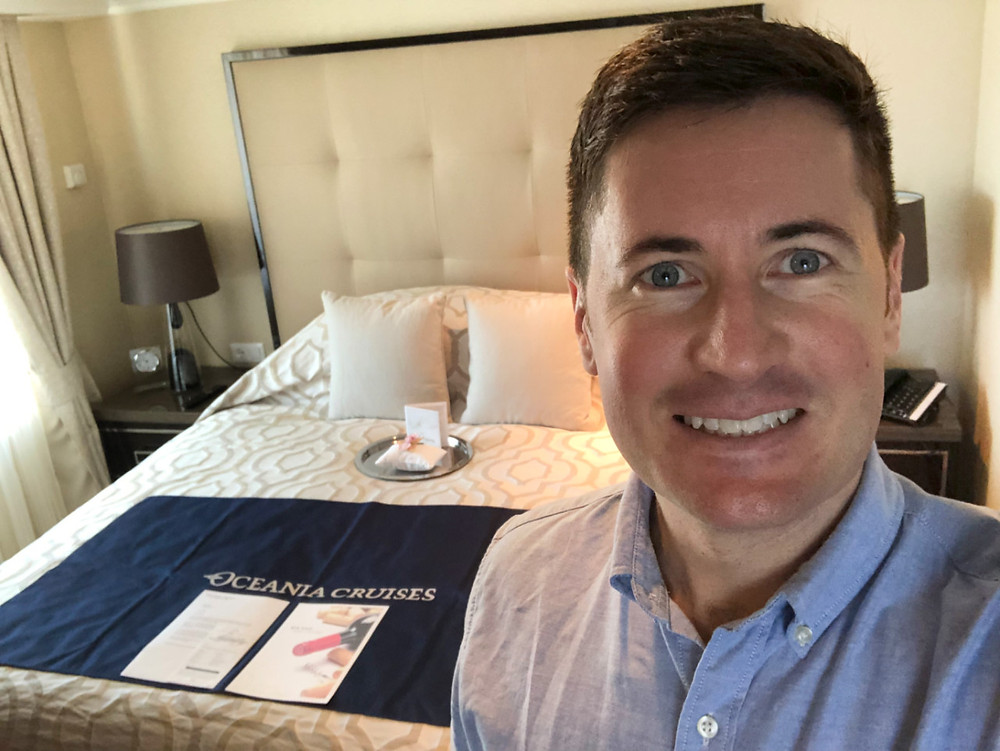 Specialist Cruise Advisor Shy onboard the Oceania Insignia during an inspection in Miami, Florida