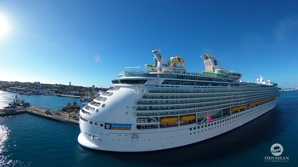 A Royal Caribbean ship in port in Nassau, The Bahamas