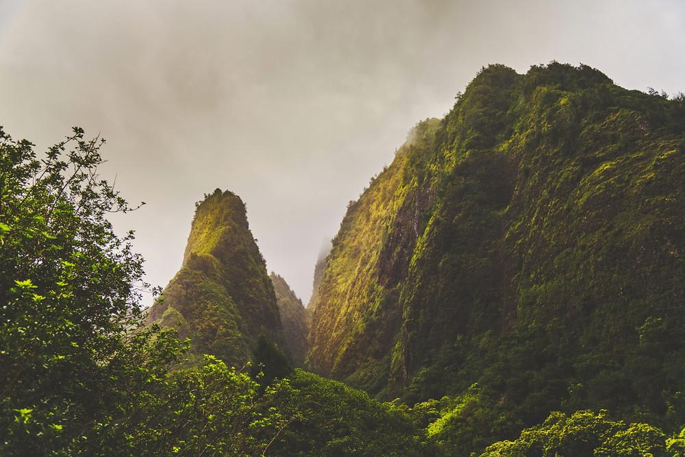 sunlight on peaks of Iao Valley, Hawaii