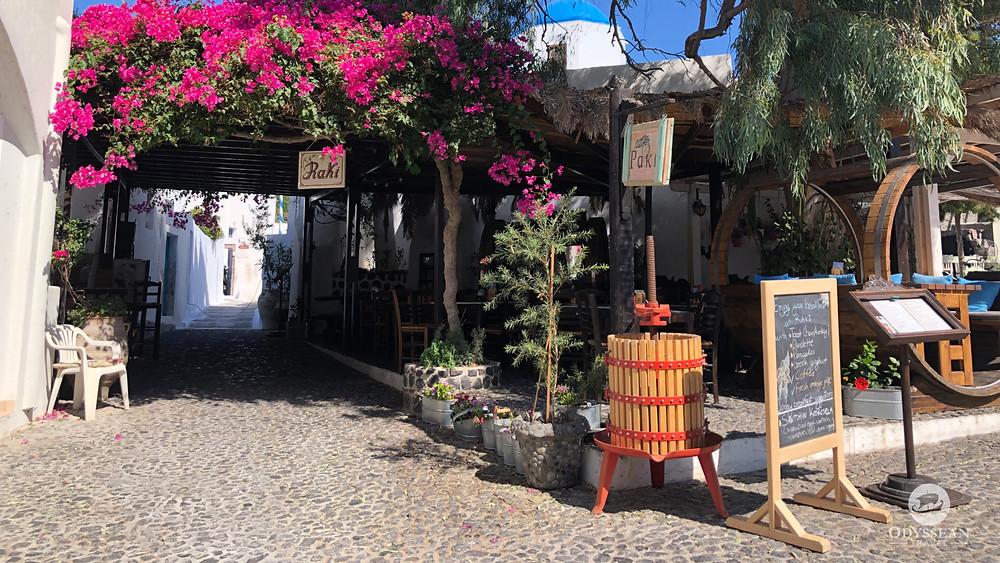 Raki taverna in Megalochori, Santorini. A picturesque village in the winery region of the island