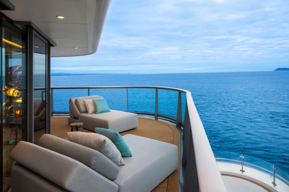 The gigantic veranda of the Penthouse Suite on board the Celebrity Flora is perfect for enjoying your own private piece of the Galapagos Islands