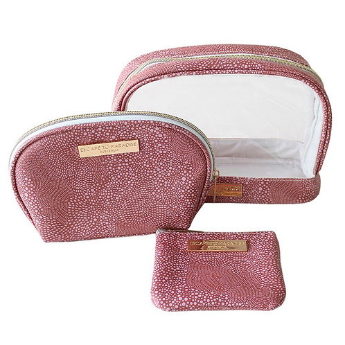 Australian style 3-piece cosmetic bag set