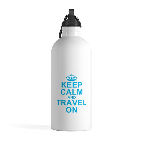 Keep Calm and Travel On Stainless Steel Water Bottle