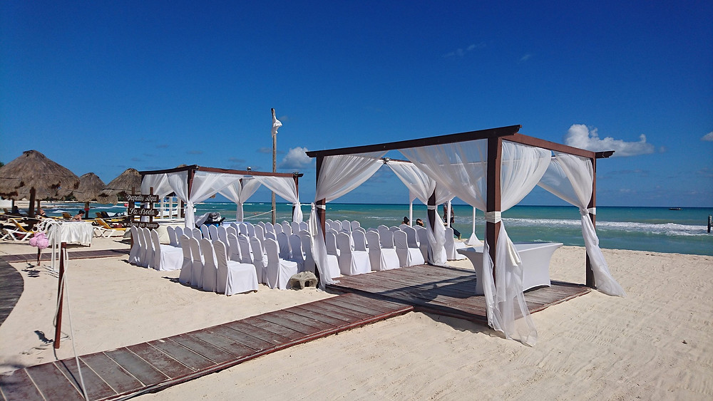 destination wedding set up on a beach in Mexico