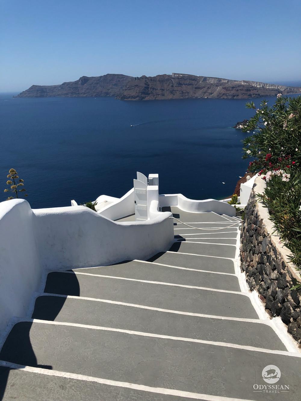 Staircase leading to a luxury villa in Santorini, Greece