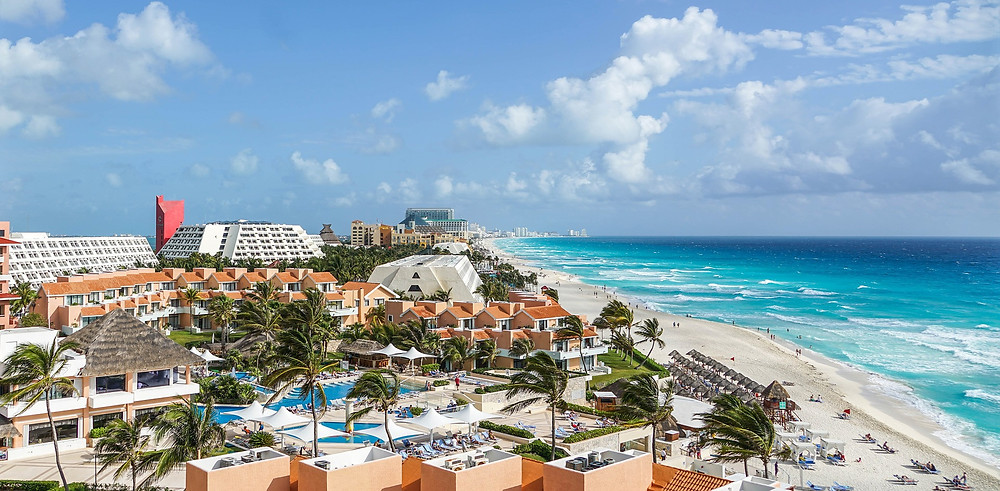 White sand beach and beautiful resorts of Cancun, Mexico