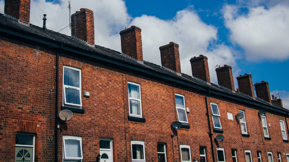 """Terraced or """"row"""" houses of Chorlton, Manchester. The red brick home of Coronation Street"""