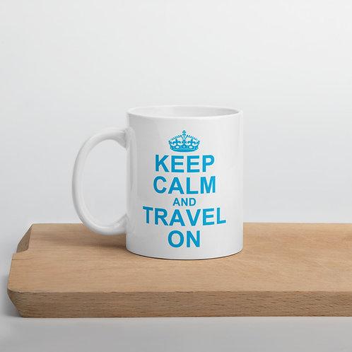 keep calm and travel on coffee mug
