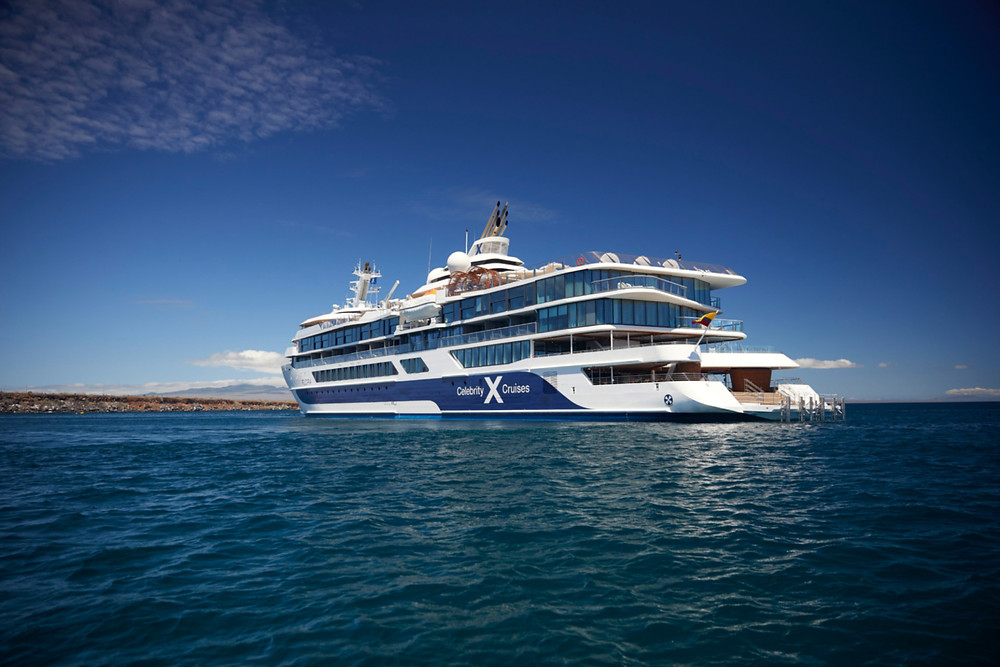 A profile view of the mega yacht Celebrity Flora in the Galapagos Islands