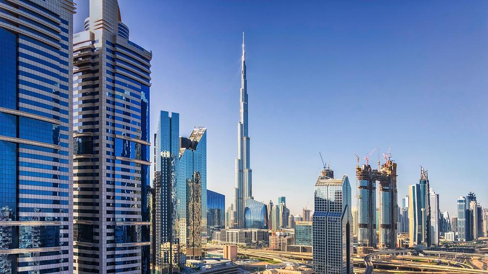 Dubai's Burj Khalifa looking over several new buildings of the Dubai skyline