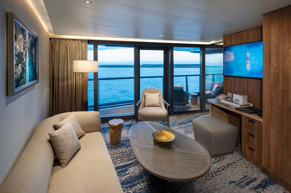 Celebrity Flora Royal Suite lounge and private veranda area for the perfect way to enjoy a cruise of the Galapagos Islands