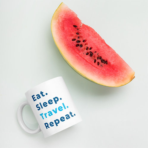 Eat Sleep Travel Repeat coffee mug with watermelon
