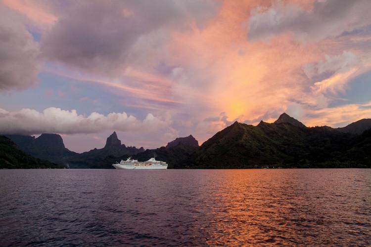 MS Paul Gauguin sunset in Moorea