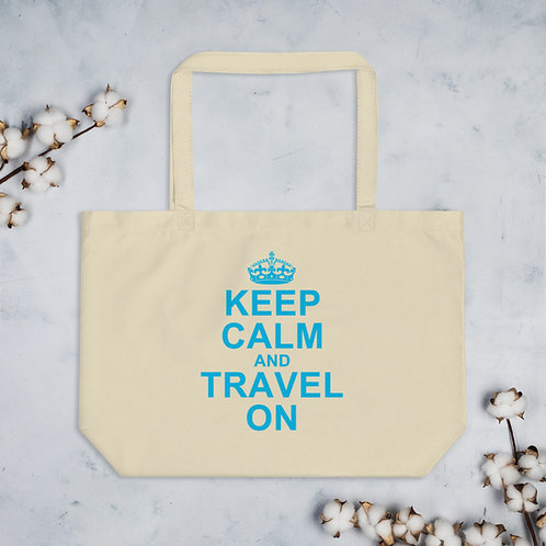 keep calm and travel on eco friendly tote bag for travel