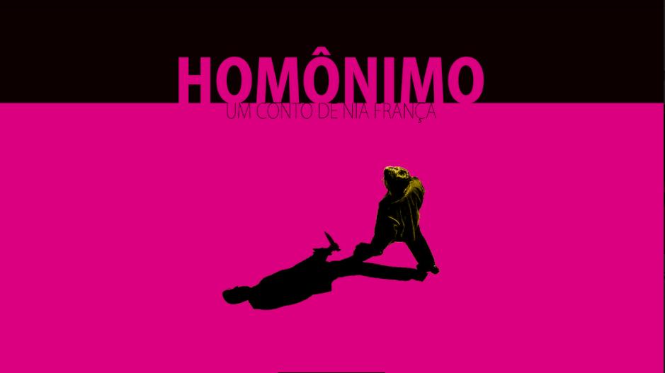 """Maior parte do fundo rosa, em cima invadido vem o título do conto """"homônimo"""" em rosa sobre o preto. Na parte rosa há um homem andando e sua sombra carrega uma faca."""