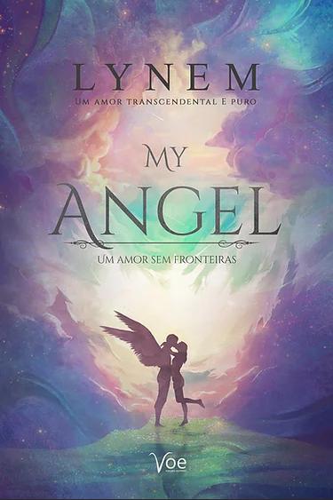 """Capa do livro """"My Angel"""" em tons de azul, rosa e violeta com um anjo e. uma menina se beijando"""