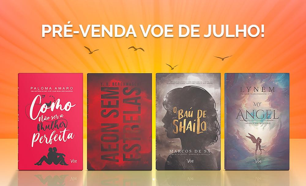 Capa dos livros da pré-venda de julho em cima de u, fundo laranja com pequenos pássaros pretos voando por cima.