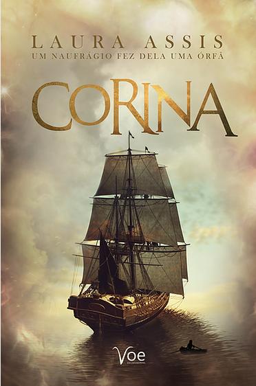 """Capa do livro """"Corina"""", com um fundo de nuvens amareladas e um barco antigo, provavelmente uma nau."""