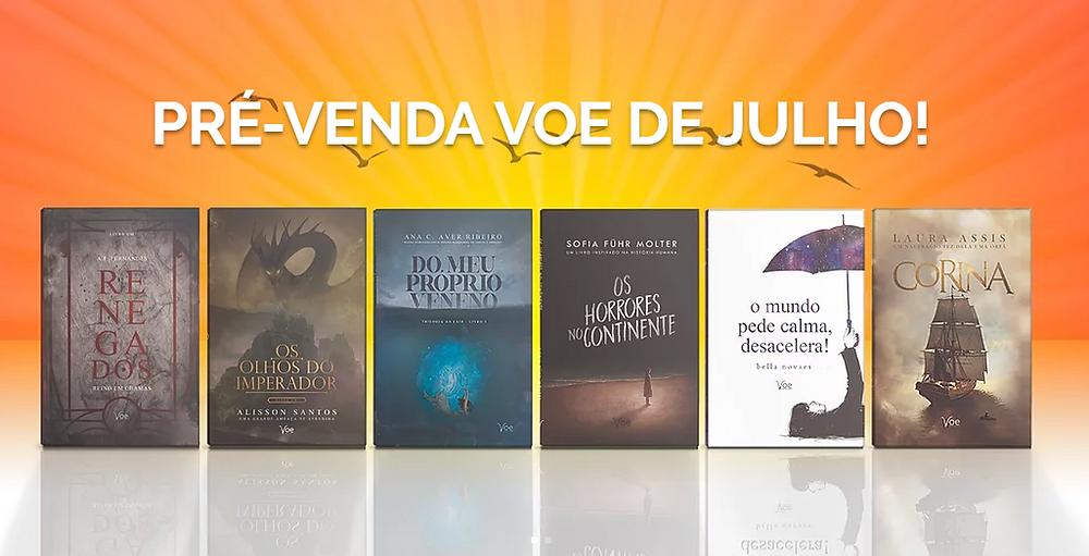 Capa dos livros da pré-venda de julho da Voe reunidas em cima de um fundo laranja com pássaros pequenos pretos voando
