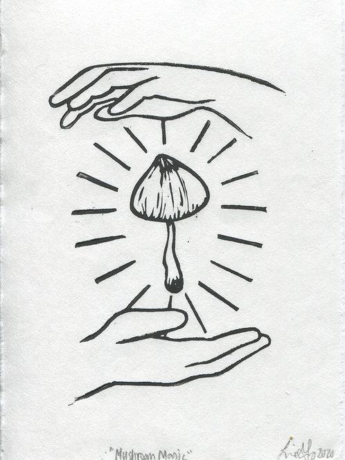 """""""Mushroom Magic"""" Linocut Print"""