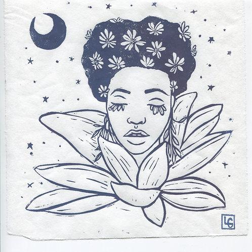 """""""Lotus Blossom"""" Linocut Print"""