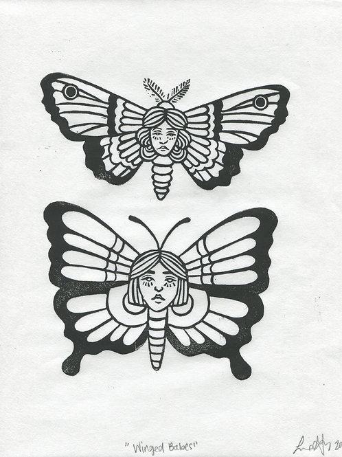 """Winged Babes"" Linocut Print"