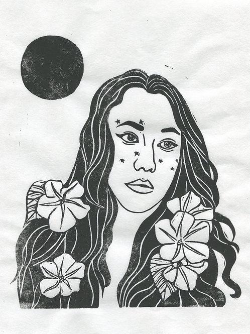 """""""Moon Flowers"""" Linocut Print"""