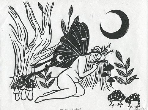 """Lunar Lady"" Linocut Print"