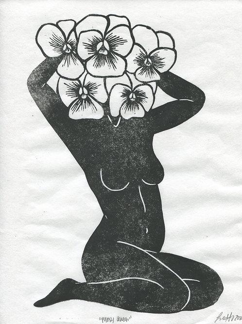 """""""Pansy Queen"""" Linocut Print"""