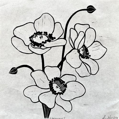"""Anemones"" Linocut Print"