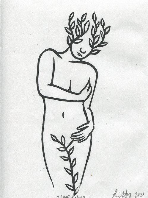 """""""Leaf Babe"""" Linocut Print"""