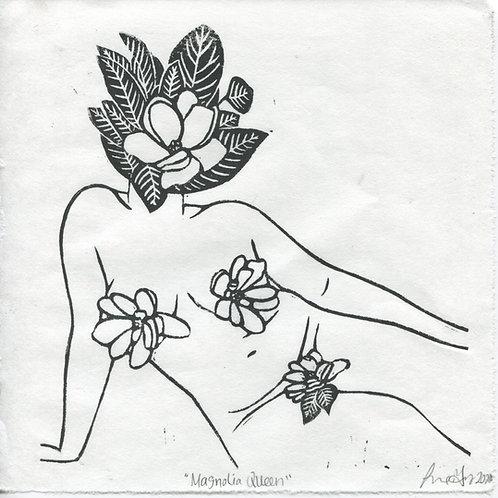 """Magnolia Queen"" Linocut Print"
