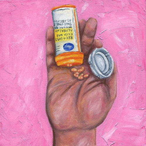 """Take One as Needed for Anxiety"" Oil Painting"