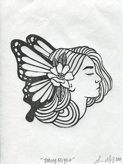 """Taking Flight"" Linocut Print"