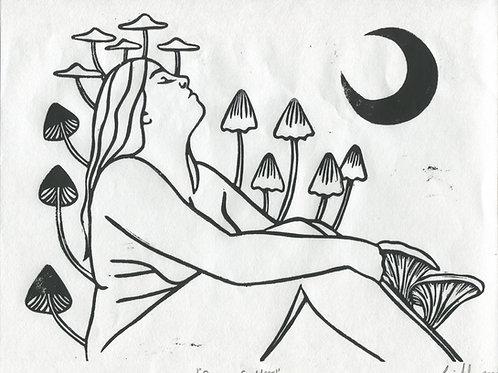 """Shroom Goddess"" Linocut Print"