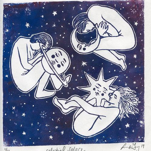 """""""Celestial Solace"""" Linocut Print"""