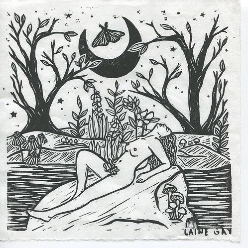 """""""Moon Water"""" Linocut Print"""