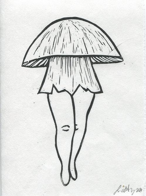 """Death Cap Dance"" Linocut Print"