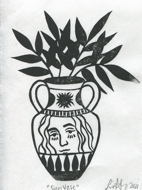 """Sun Vase"" Linocut Print"